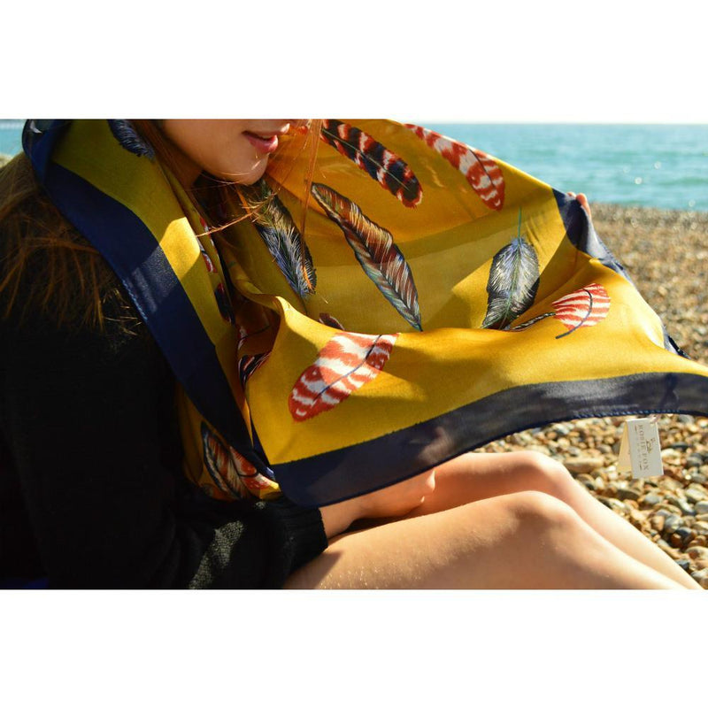 Feather Print Silk Scarf-Scarves-Rosie Fox-Mustard-Tegen Accessories