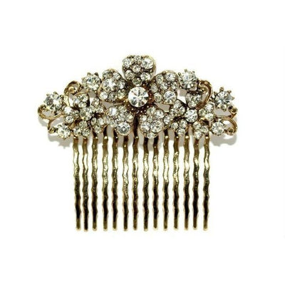 Floral Bridal Comb-Hair combs-Swarovski Crystal-Gold-Tegen Accessories