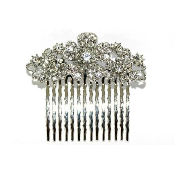 Floral Bridal Comb-Hair combs-Swarovski Crystal-Silver-Tegen Accessories