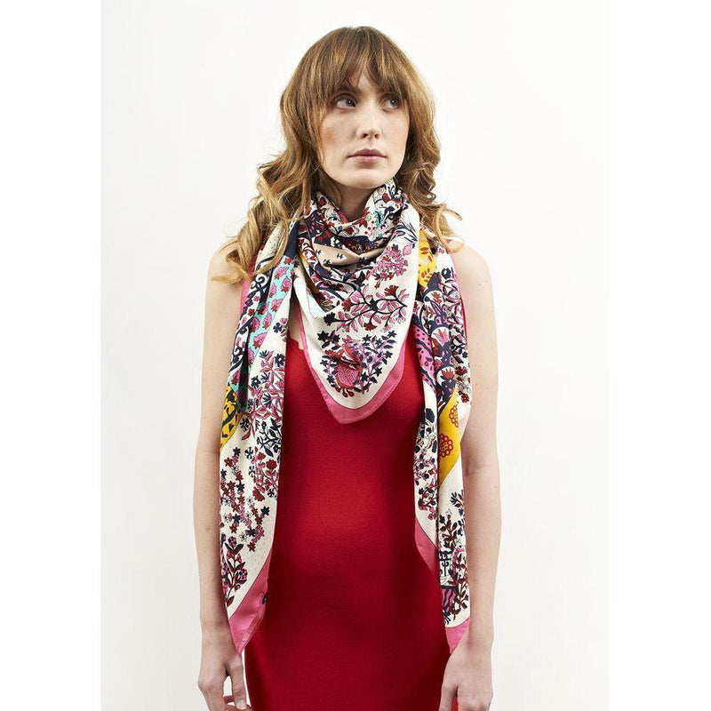 Floral Ella Large Silk Scarf-Scarves-Rosie Fox-Summer-Tegen Accessories