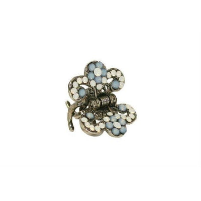 Floral Paisley Swarovski Crystal Hair Claw-Discontinued-Blue and White Opal-Silver-Tegen Accessories