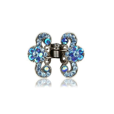 Floral Paisley Swarovski Crystal Hair Claw-Discontinued-Blue Crystal-Silver-Tegen Accessories