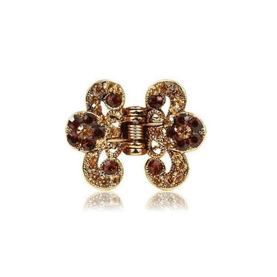 Floral Paisley Swarovski Crystal Hair Claw-Discontinued-Bronze Crystal-Gold-Tegen Accessories