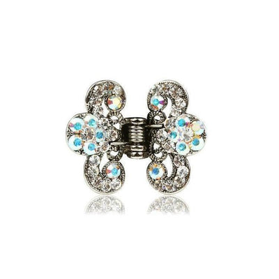 Floral Paisley Swarovski Crystal Hair Claw-Discontinued-Clear Crystal-Silver-Tegen Accessories