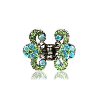 Floral Paisley Swarovski Crystal Hair Claw-Discontinued-Green Crystal-Silver-Tegen Accessories