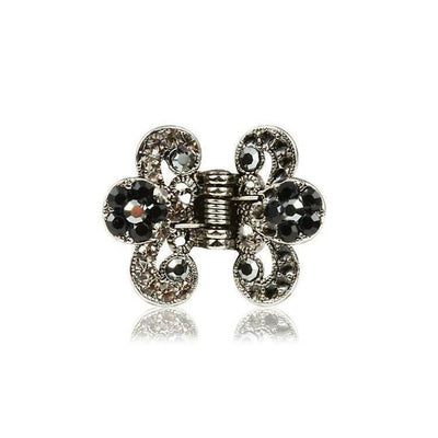 Floral Paisley Swarovski Crystal Hair Claw-Discontinued-Pewter Crystal-Silver-Tegen Accessories