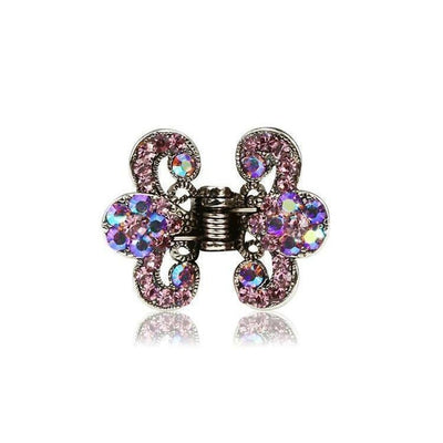 Floral Paisley Swarovski Crystal Hair Claw-Discontinued-Violet Crystal-Silver-Tegen Accessories