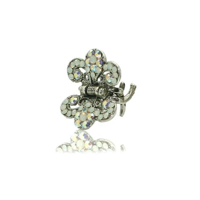 Floral Paisley Swarovski Crystal Hair Claw-Discontinued-White Opal-Silver-Tegen Accessories
