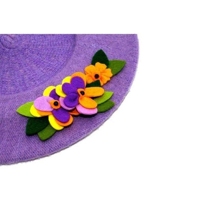 Floral Wool Beret-Discontinued-Tegen Accessories