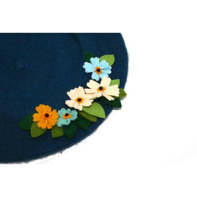 Floral Wool Beret-Discontinued-Navy-Tegen Accessories