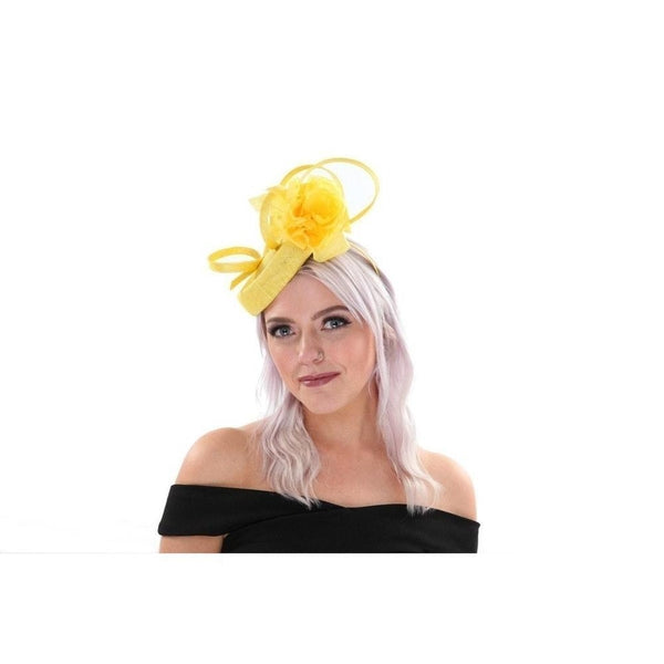 Floral Yellow Pill Box Fascinator-Discontinued-Yellow-Tegen Accessories 4b46969a568