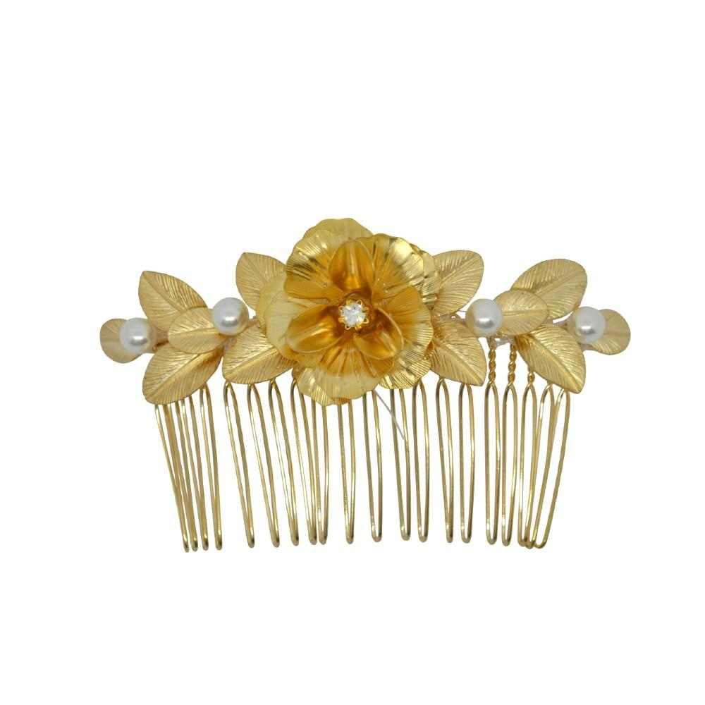 Flower and Pearl Hair Comb Gold Pearl