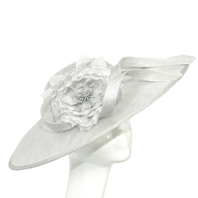 Flower and Ribbon Disc Fascinator-Fascinators-Peter Bettley-Light Silver-Tegen Accessories