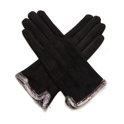 Fluffy Lined Gloves with Pleats-Gloves-Tegen Accessories-Black-Tegen Accessories