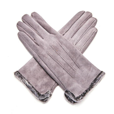 Fluffy Lined Gloves with Pleats-Gloves-Tegen Accessories-Grey-Tegen Accessories