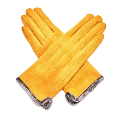 Fluffy Lined Gloves with Pleats-Gloves-Tegen Accessories-Mustard-Tegen Accessories