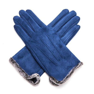 Fluffy Lined Gloves with Pleats-Gloves-Tegen Accessories-Navy-Tegen Accessories