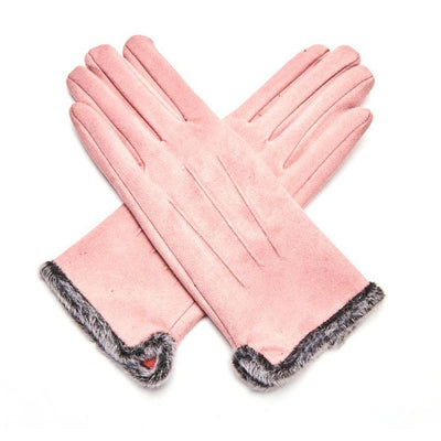 Fluffy Lined Gloves with Pleats-Gloves-Tegen Accessories-Pink-Tegen Accessories