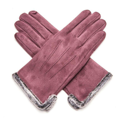 Fluffy Lined Gloves with Pleats-Gloves-Tegen Accessories-Plum-Tegen Accessories