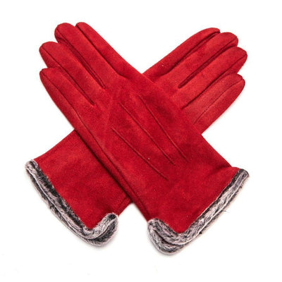 Fluffy Lined Gloves with Pleats-Gloves-Tegen Accessories-Red-Tegen Accessories