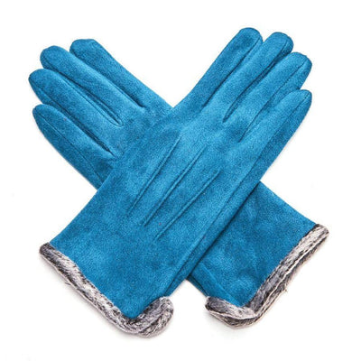 Fluffy Lined Gloves with Pleats-Gloves-Tegen Accessories-Teal-Tegen Accessories