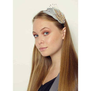 Gatsby Feather Headband-Headbands-Rosie Fox-Grey-Tegen Accessories
