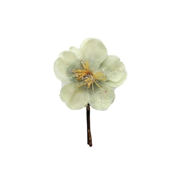 Glitter Flower Hair Grip-Hair flowers-Gil Fox-Ivory-Tegen Accessories