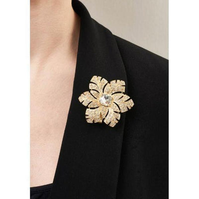 Gold And Crystal Flower Hairclip And Brooch-Clips & slides-Rosie Fox-Tegen Accessories