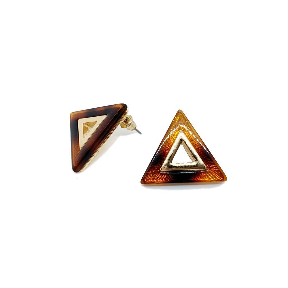 Gold and Tortoiseshell Resin Triangle Earrings - Big Metal - Brown Gold