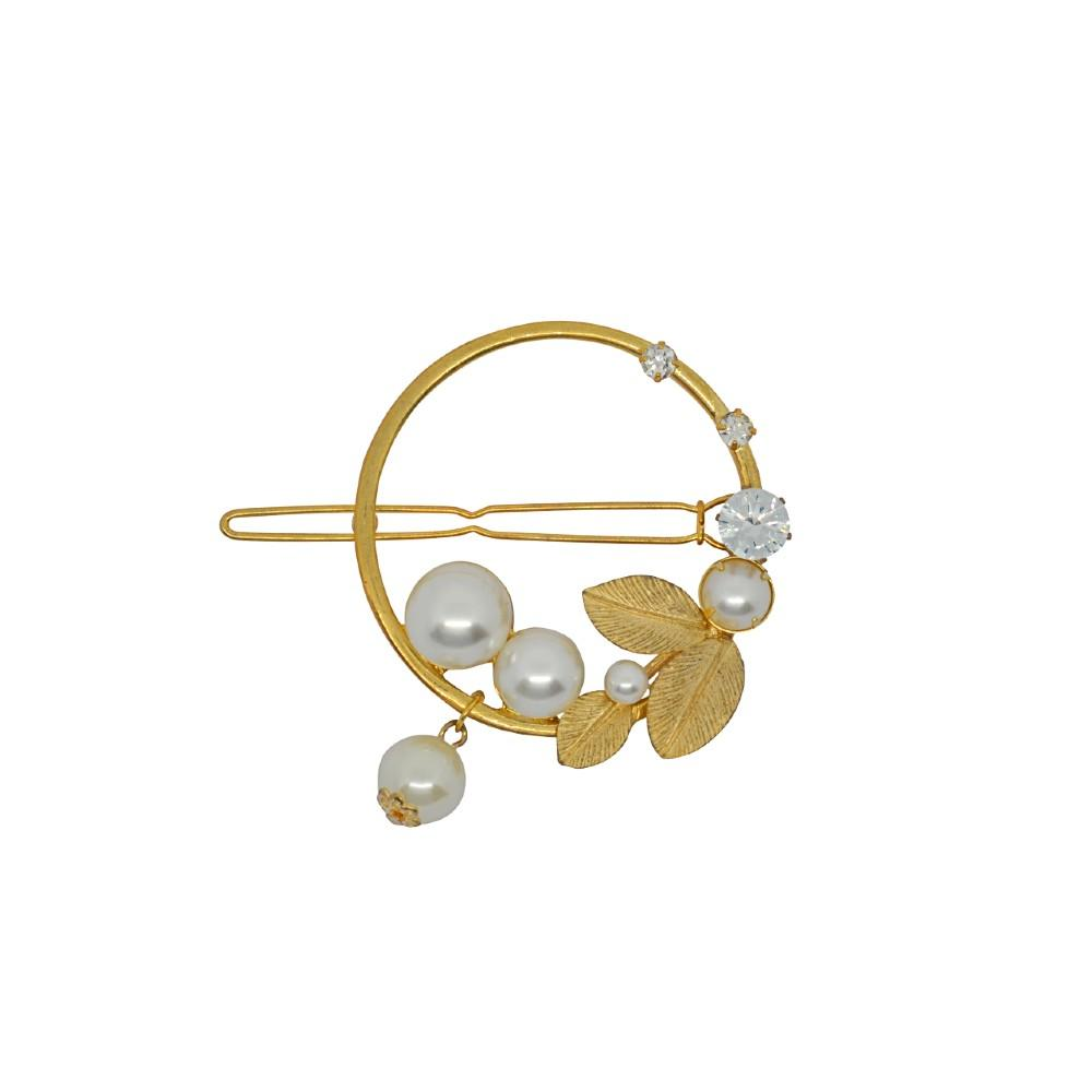 Gold Circle Crystal and Pearl Hair Clip Gold Pearl