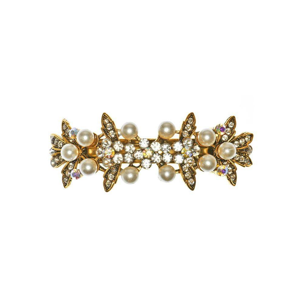 Gold Crystal and Pearl Floral Barrette-Barrettes-Rosie Fox-Tegen Accessories