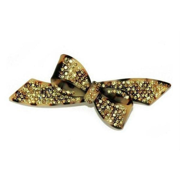 Gold Crystal Bow Barrette-Discontinued-White Tokio-Tegen Accessories
