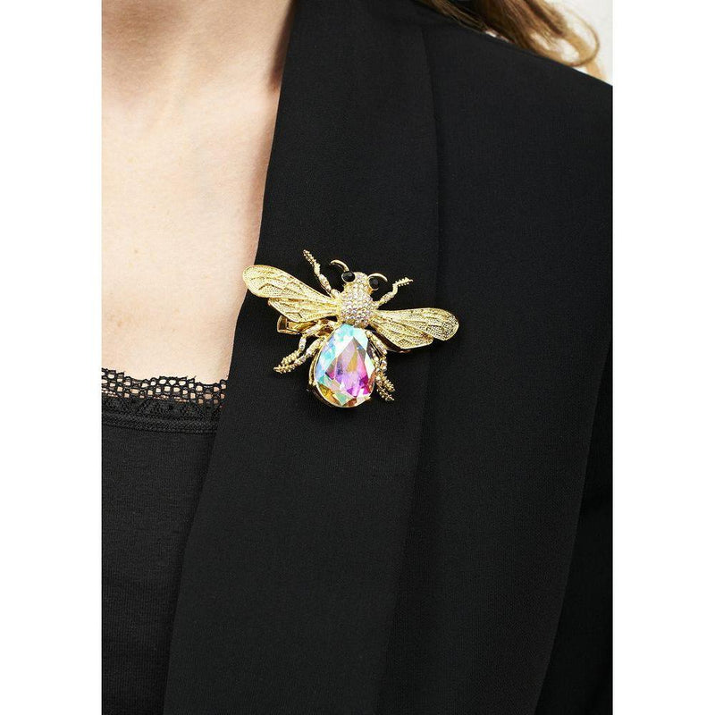 Gold Crystal Bug Brooch-Brooches-Rosie Fox-Tegen Accessories