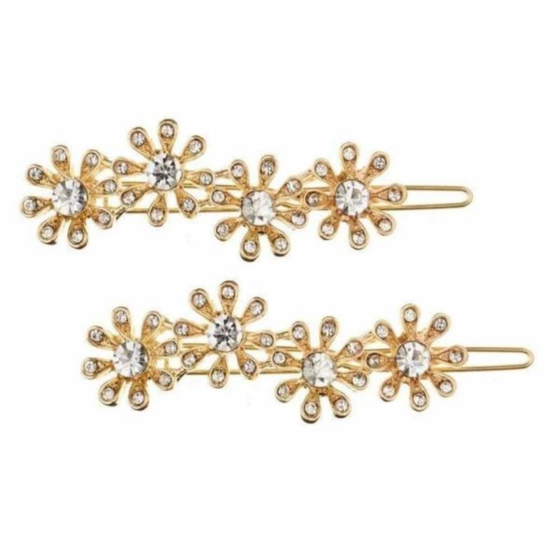 Gold Crystal Daisy Hair Slides-Clips & slides-Rosie Fox-Tegen Accessories