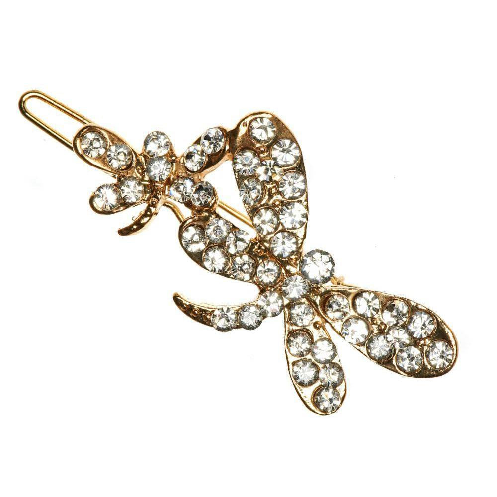 Gold Crystal Dragonflies Hair Clip-Clips & slides-Rosie Fox-Tegen Accessories