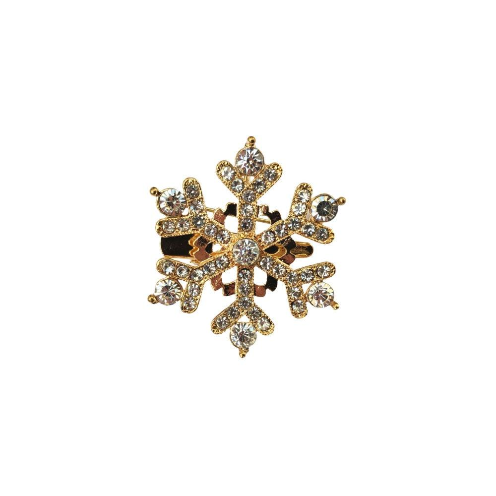 Gold Crystal Snowflake Hair Clip/Brooch-Brooches-Rosie Fox-Tegen Accessories