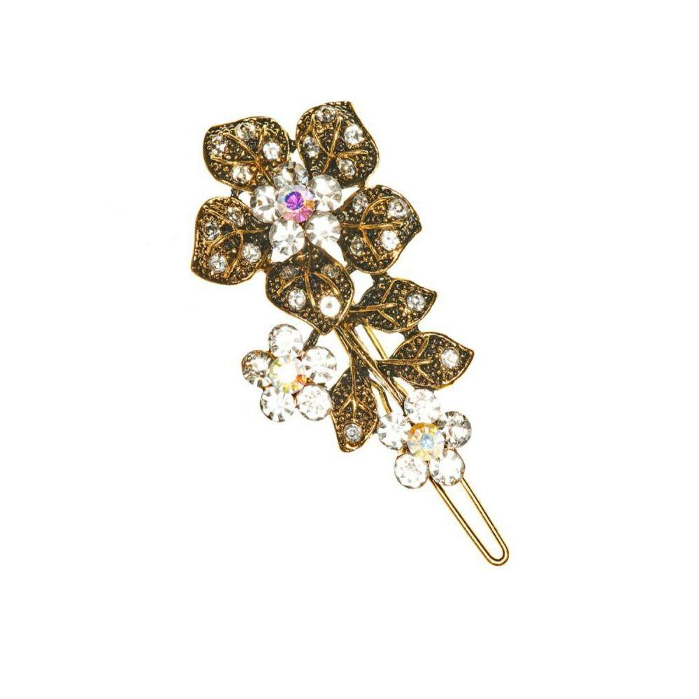 Gold Flower Crystal Hair Clip-Clips & slides-Rosie Fox-Tegen Accessories
