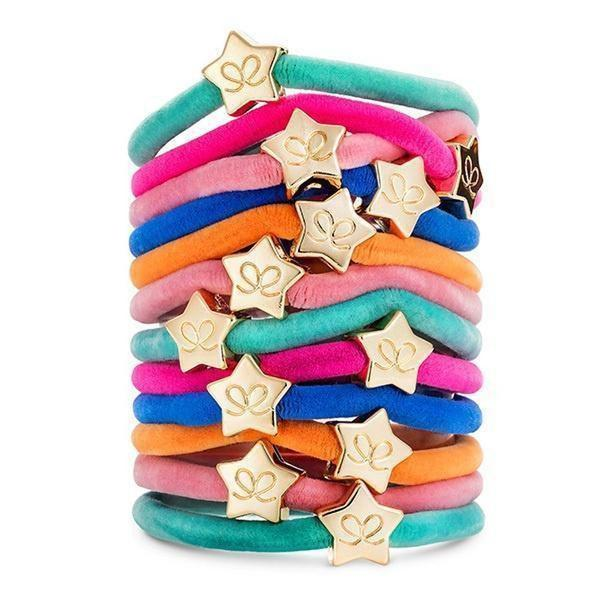 Gold Star Charm Velvet Hairband-Elastics-by Eloise-Turquoise-Tegen Accessories