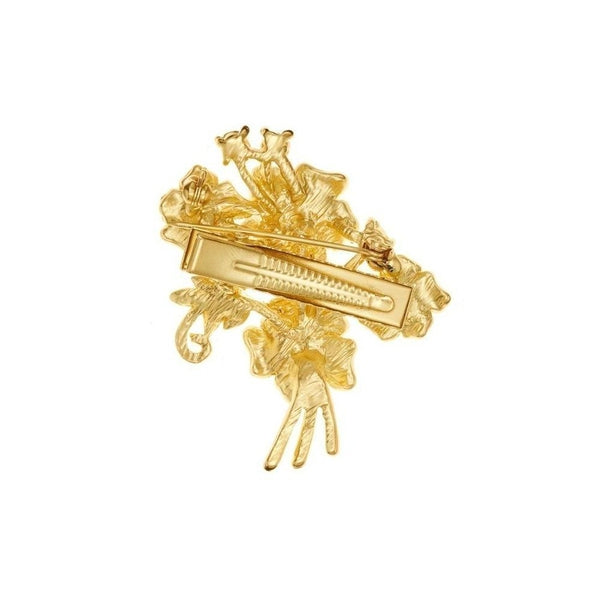 Golden Flowers Hairclip and Brooch-Brooches-Rosie Fox-Gold-Tegen Accessories