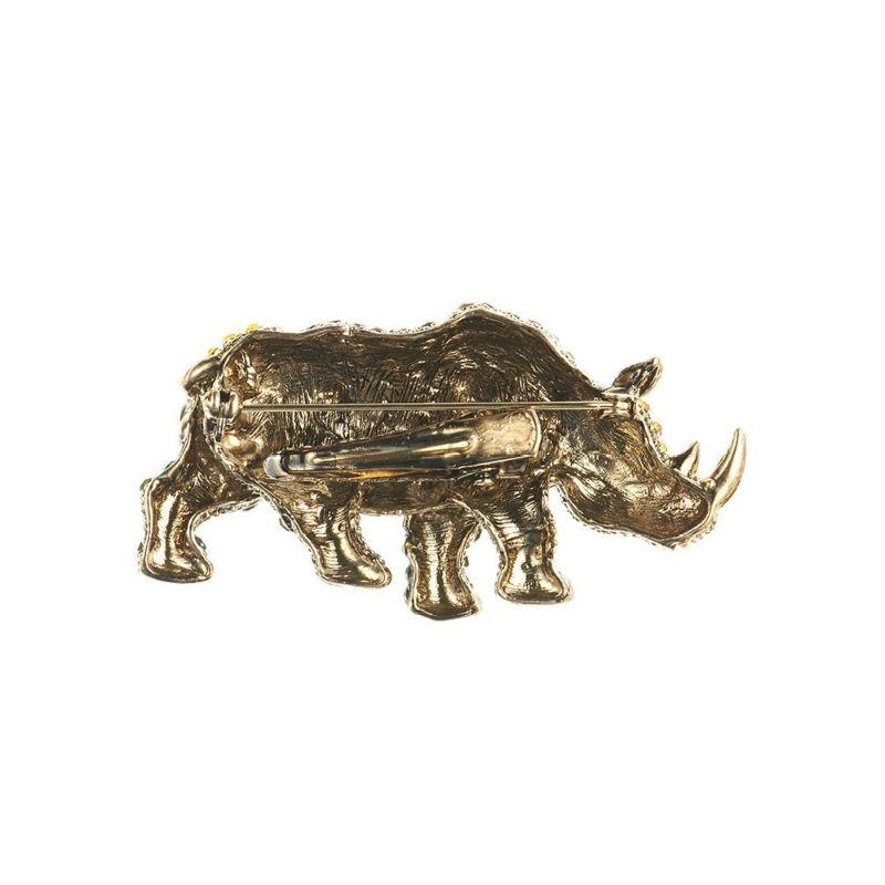 Golden Rhino Crystal Hair Clip and Brooch-Brooches-Rosie Fox-Tegen Accessories Yellow Brown