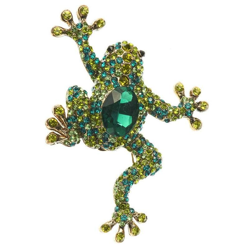 Green Crystal Frog Hair Clip and Brooch-Brooches-Rosie Fox-Tegen Accessories