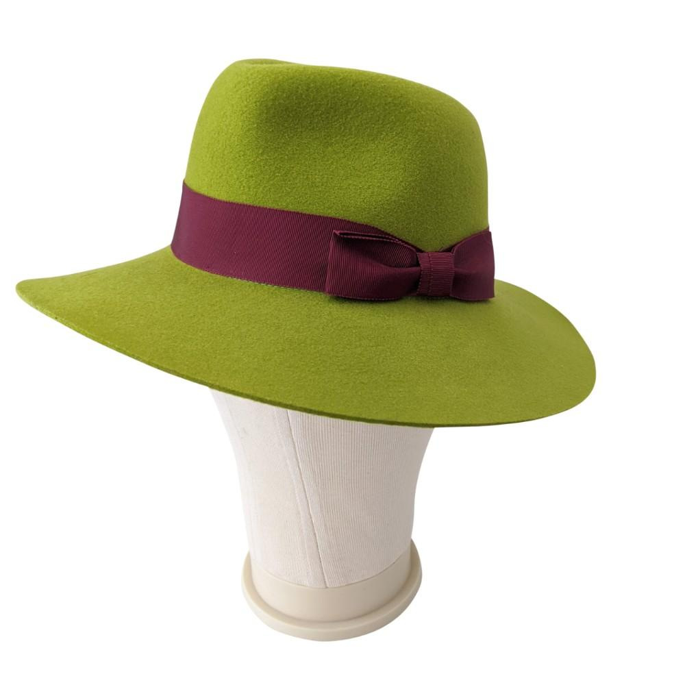 Green Wool Felt Fedora Hat-Snoxells-Hats-Tegen Accessories-Green