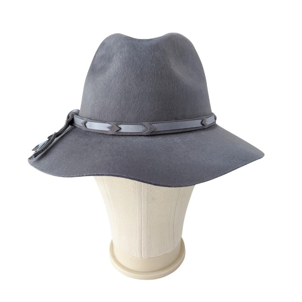 Grey Brushed Wool Fedora with Ribbon-Suzanne Bettley-Hats-Tegen Accessories-Grey