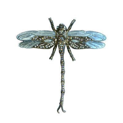Hand Painted Dragonfly Brooch-Brooches-Tegen Accessories-AB Crystal-Tegen Accessories