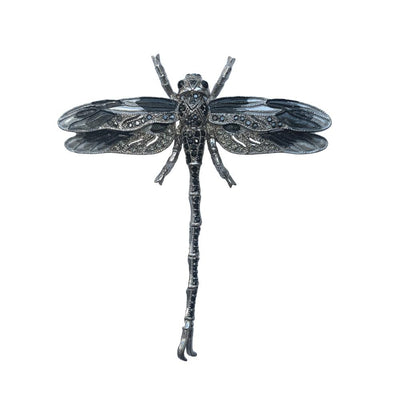Hand Painted Dragonfly Brooch-Brooches-Tegen Accessories-Black Crystal-Tegen Accessories