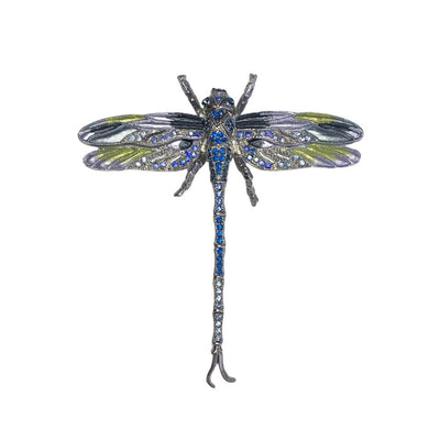 Hand Painted Dragonfly Brooch-Brooches-Tegen Accessories-Blue Crystal-Tegen Accessories
