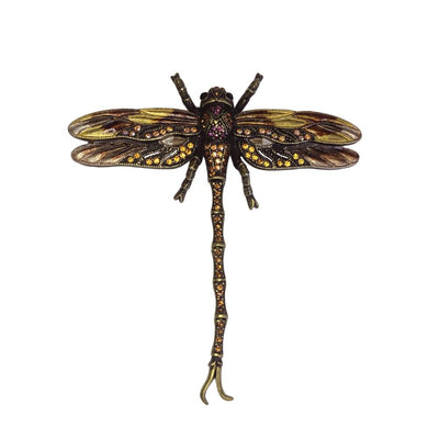 Hand Painted Dragonfly Brooch-Brooches-Tegen Accessories-Bronze Crystal-Tegen Accessories