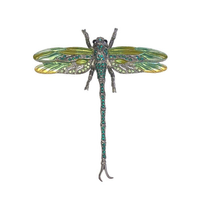Hand Painted Dragonfly Brooch-Brooches-Tegen Accessories-Emerald Crystal-Tegen Accessories