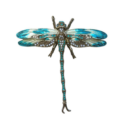 Hand Painted Dragonfly Brooch-Brooches-Tegen Accessories-Jade Crystal-Tegen Accessories