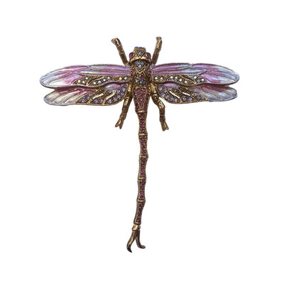 Hand Painted Dragonfly Brooch-Brooches-Tegen Accessories-Purple Crystal-Tegen Accessories